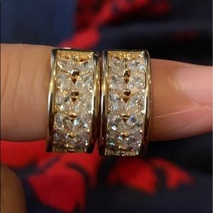 Tiny gold and cubic zirconia hoop earrings